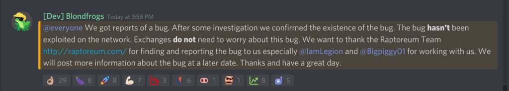 Ravencoin bug found by Raptoreum